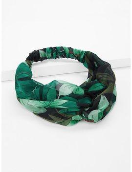 Leaf Print Twist Headband by Sheinside