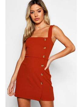 Petite Mock Horn Button Square Neck Shift Dress by Boohoo