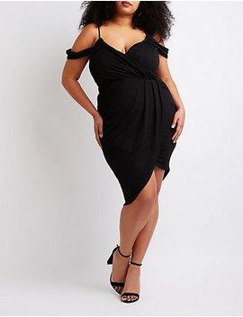 Plus Size Cold Shoulder Wrap Dress by Charlotte Russe