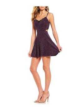 Glitter Knit Lace Bra Back Mini Dress by Xtraordinary