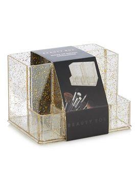 Beauty Box   Gold Glitter Make Up Brush Organiser by Beauty Box