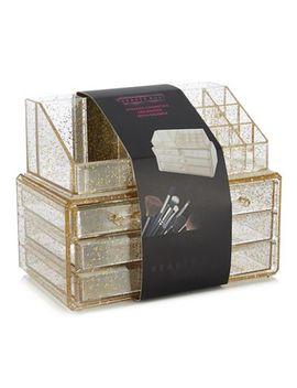 Beauty Box   Gold Glitter Cosmetics Organiser by Beauty Box