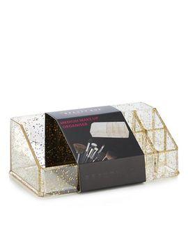 Beauty Box   Gold Glitter Make Up Organiser by Beauty Box