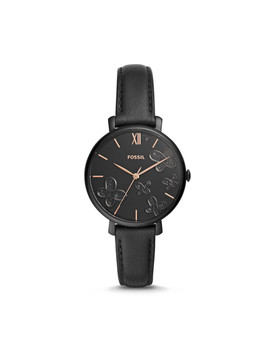Jacqueline Three Hand Black Leather Watch by Fossil