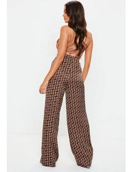 Brown Geo Print Wide Leg Pants by Missguided