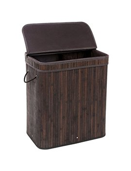 Songmics Divided Bamboo Laundry Basket Double Hamper With Lid Handles And Removable Liner Two Section Dirty Clothes Storage Sorter Rectangular Dark Brown Ulcb64 B by Songmics