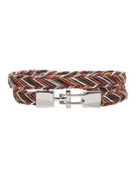 Multicolor Double Strap Multistripe Bracelet by Paul Smith