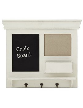Wooden Chalkboard Wall Shelf With Three Metal Hooks by Benzara