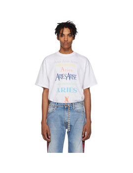 White Multicolor Logo T Shirt by Aries