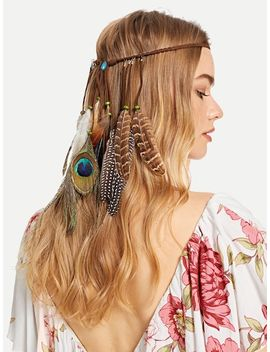 Feather Charm Woven Hair Accessories by Sheinside