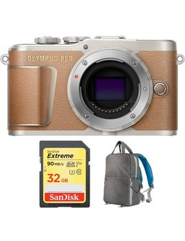 Olympus Pen E Pl9 16.1 Mp Wi Fi 4 K Mirrorless Camera Body Honey Brown (V205090 Nu000) With Sandisk 32 Gb Extreme Sd Memory Uhs I Card & Deco Gear Large Photo/Video Backpac Grey by Olympus