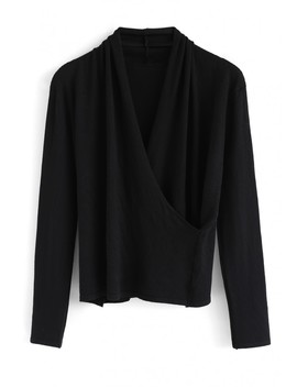 Wrap Up The Moment Knit Top In Black by Chicwish