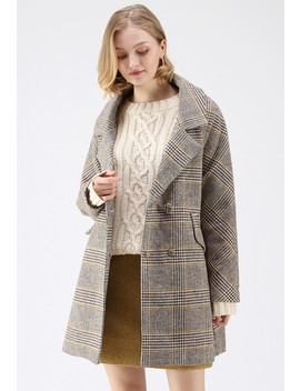 Chic Comforts Houndstooth Wool Blend Coat by Chicwish