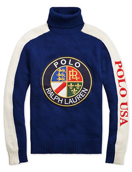 Downhill Skier Men's Wool Graphic Turtleneck Sweater by Polo Ralph Lauren