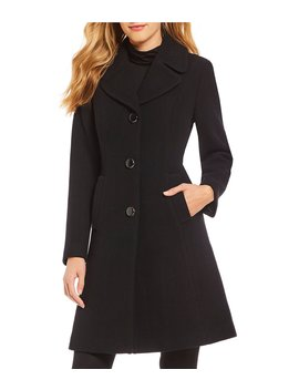 Twill Solid Fit And Flare Walker Coat by Kate Spade New York