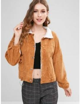 Fleece Lined Pocket Corduroy Jacket   Caramel by Zaful