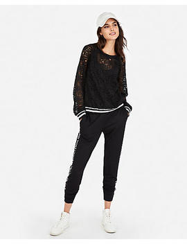 Lace Striped Trim Banded Hem Blouse by Express