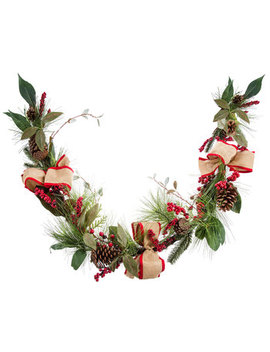 Pinecone, Berry & Bow Garland by Hobby Lobby