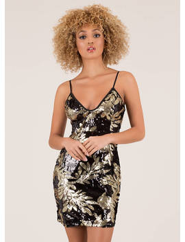Turn Over A New Leaf Sequined Minidress by Go Jane
