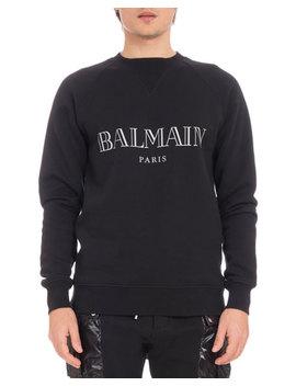 Men's Logo Crewneck Raglan Cotton Sweatshirt by Balmain