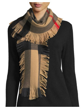 Half Mega Check Fashion Fringe Wool Scarf by Burberry