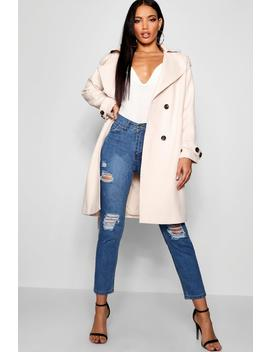 Oversized Wool Look Trench Coat by Boohoo