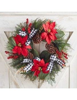 "22"" Faux Poinsettia Wreath With Gingham Ribbon by Pier1 Imports"