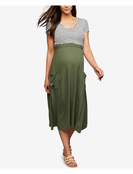 Maternity Pull On Midi Skirt by A Pea In The Pod