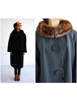 Vintage 1960's Black Wool Jacket With Brown Fur Collar, Scalloped Front And Oversized Buttons | Medium/Large by Etsy