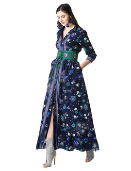 Embellished Lace Up Tie Floral Print Maxi Shirtdress by Eshakti