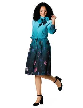Bow Tie Floral Ombre Print Crepe Shirtdress by Eshakti