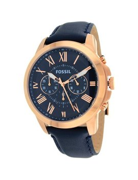 Fossil Men's Grant Multi Function Navy Leather Watch Fs4835 by Fossil