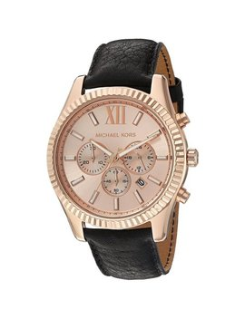 Michael Kors Men's 45mm Black Leather Band Gold Tone Steel Bracelet Quartz Chronograph Watch Mk8516 by Michael Kors