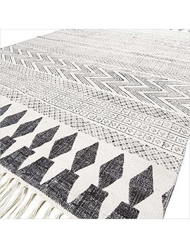 Eyes Of India   4 X 6 Ft White Black Cotton Block Print Area Accent Dhurrie Rug Flat Weave Woven Boho Chic Indian Bohemian by Eyes Of India
