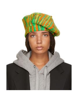 Green & Orange Knit Beret by Acne Studios