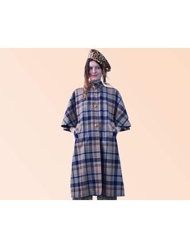 60s Vtg Mod Blue And Beige Plaid Swing Coat Retro Throw Wool Fall Jacket Vintage Retro Cutie A Line by Etsy