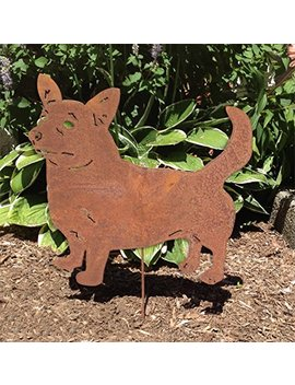 Cardigan Welsh Corgi Garden Stake / Yard Art / Lawn Ornament / Metal / Cut Out / Spike / Shadow / Silhouette / Pet Memorial by Rustica Ornamentals