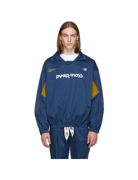 Blue Vector Pullover Jacket by Reebok By Pyer Moss