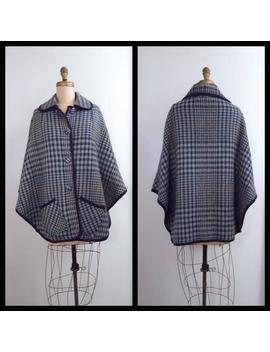 Exploring The Lake District | 1960s Blue Plaid Cape | 60s Wool Cape by Etsy
