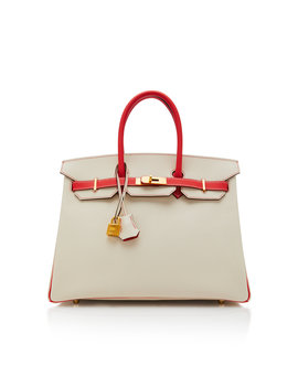 Hermes 35cm Craie And Rose Jaipur Epsom Leather Special Order Horseshoe Birkin by Hermes Vintage