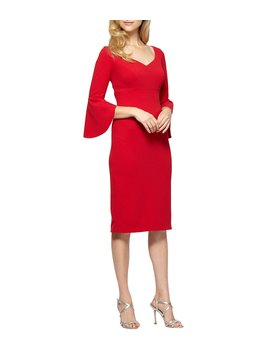 Bell Sleeve Crepe Sheath Dress by Alex Evenings