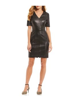 Luxury Collection Brianna Leather Sheath Dress by Antonio Melani