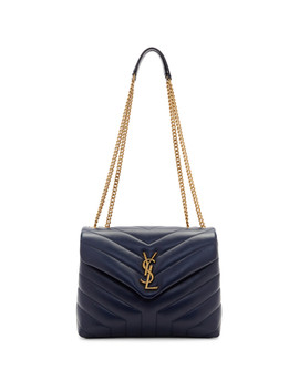 Navy Small Loulou Chain Bag by Saint Laurent