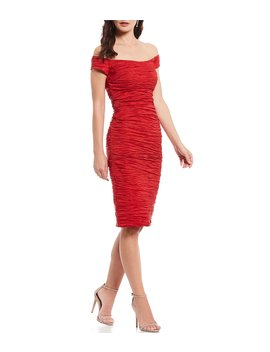 Off The Shoulder Taffeta Midi Sheath Dress by Alex Evenings