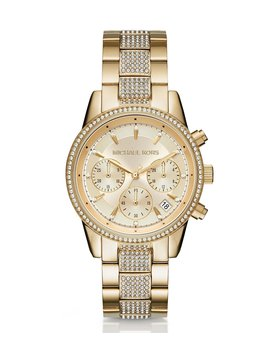 Ritz Chronograph &Amp; Date Crystal Bracelet Watch by Michael Kors