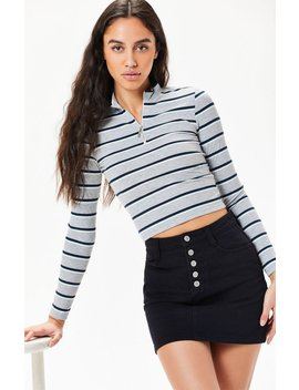 Me To We Striped Mock Neck Zip Up Long Sleeve Top by Pacsun