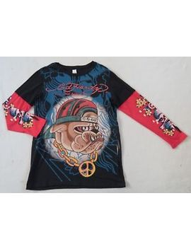 Ed Hardy Women's L/S Crew Neck Black With Red Sleeves Bulldog Graphic T Shirt L by Ed Hardy