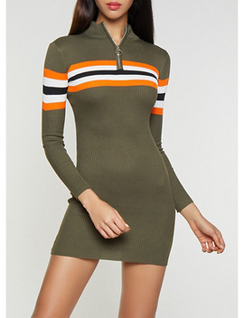 Striped Detail Sweater Dress by Rainbow
