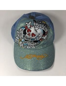 "Ed Hardy Women's Trucker Hat Blue ""Love Kills Slowly"" Glitter Snap Back Cap Flaw by Ed Hardy"