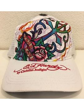 Ed Hardy Women's Trucker Hat Cap True Love White Roses New by Ed Hardy